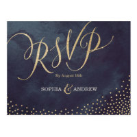 Glam night faux gold glitter calligraphy RSVP