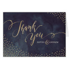 Glam night faux gold glitter calligraphy thank you card