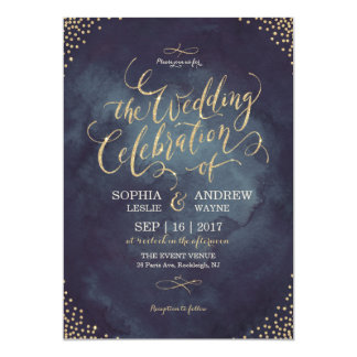 Glam night faux gold glitter calligraphy wedding 13 cm x 18 cm invitation card