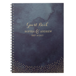 Glam night faux gold glitter wedding guest book notebooks