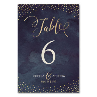 Glam night gold calligraphy wedding table number table card
