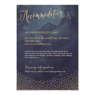 Glam night gold glitter calligraphy accommodation 11 cm x 16 cm invitation card