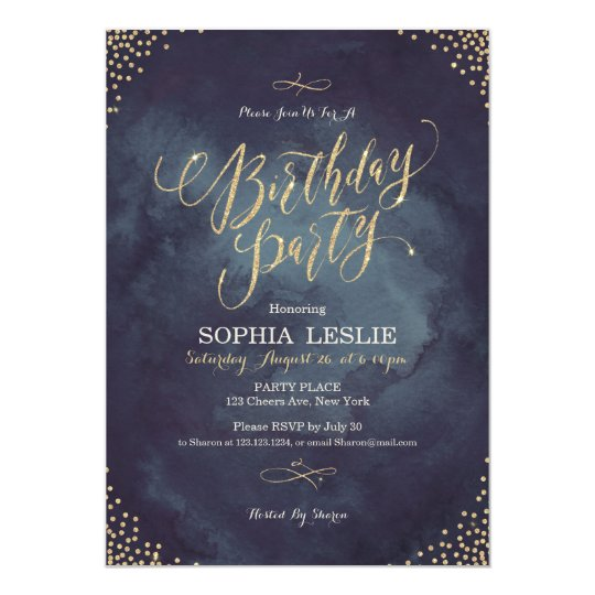 Glam night gold glitter calligraphy birthday party card