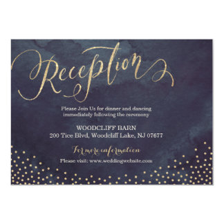 Glam night gold glitter calligraphy reception card 11 cm x 16 cm invitation card