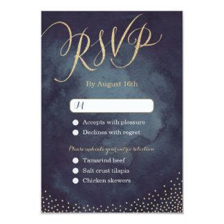 Glam night gold glitter calligraphy wedding RSVP 9 Cm X 13 Cm Invitation Card