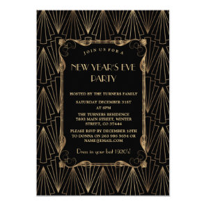 Glam Old Hollywood Great Gatsby New Year Party Invitation
