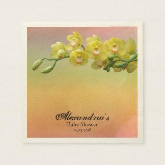 Glam Pastel Orchid Soft Peach Pink Baby Shower Paper Serviettes