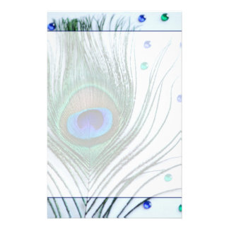 Glam Peacock Feather Blue Stationery