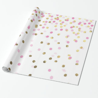 Glam Pink and Gold Confetti Wrapping Paper