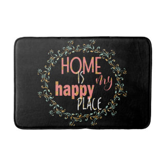 Glam pink glitter home is my happy place slogan bath mat