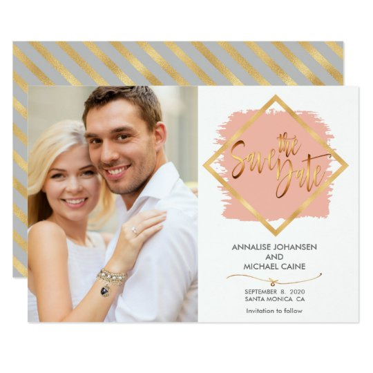 Glam Pink Gold Frame Save The Date Wedding