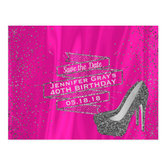 Glam Pink Save the Date Elegant Birthday Party Postcard