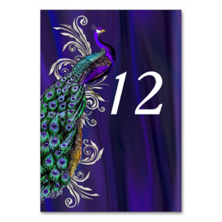 Glam Purple Satin Look Wedding Table Number Card