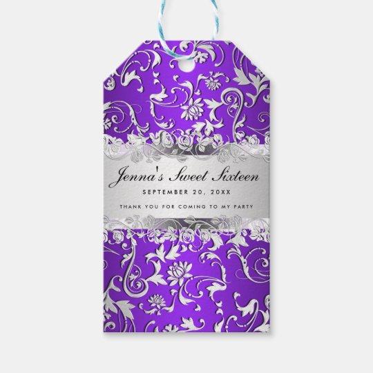 Glam Purple Silver Floral Pattern Sweet Sixteen