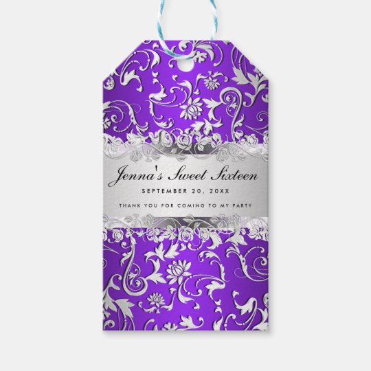Glam Purple Silver Floral Pattern Sweet Sixteen Gift