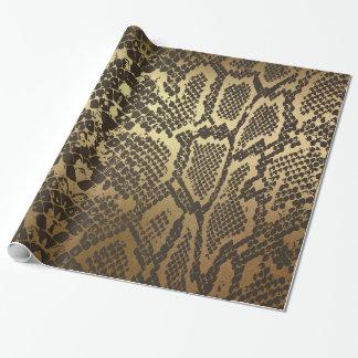 Glam Python Snake Skin Golden Shiny Wrapping Paper