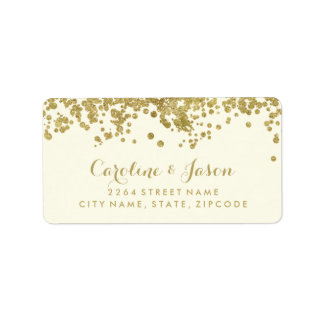 Glam Return Address Labels | Chic Faux Gold Foil