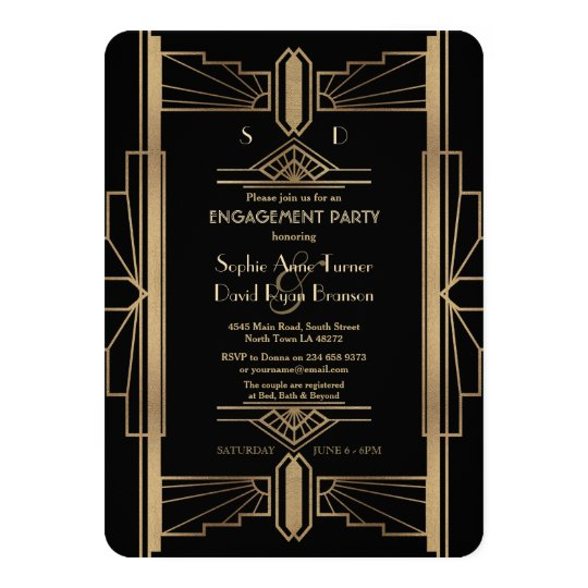 Glam Roaring 20's Great Gatsby Engagement Party Card