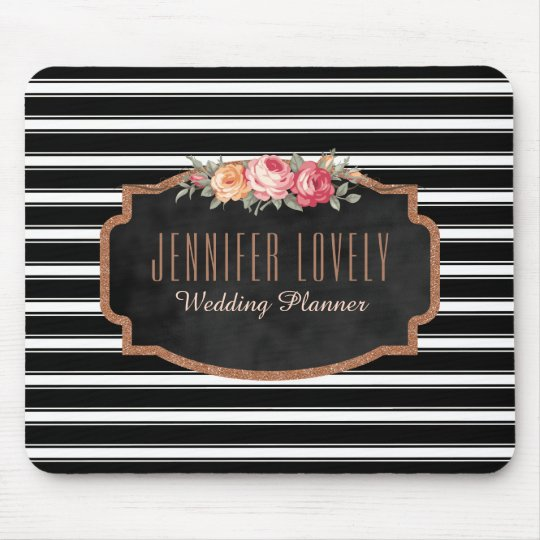 Glam Rose Gold Glitter Black Stripes | Monogram