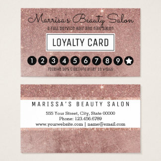 Glam Rose Gold Glitter Mesh Loyalty Discount Punch Business Card