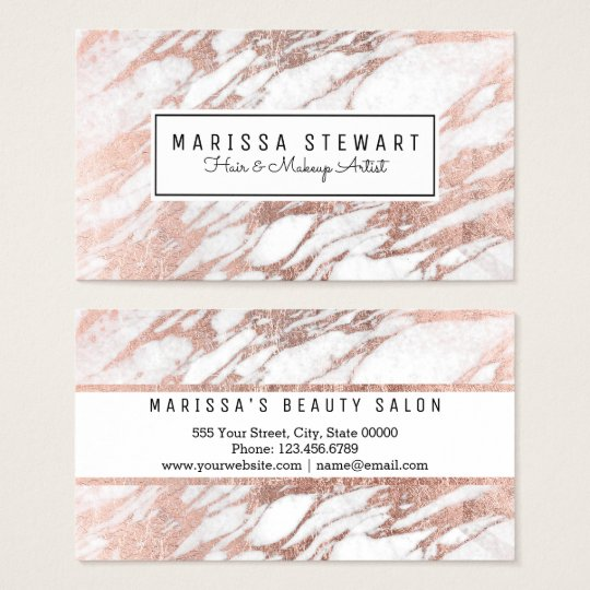 Glam Rose Gold White Marble Business Card