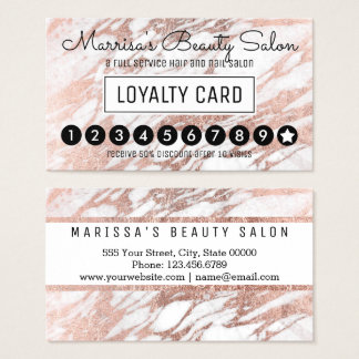 Glam Rose Gold White Marble Loyalty Discount Punch Business Card