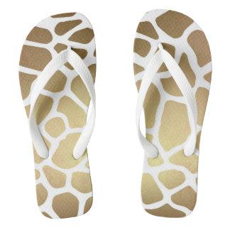 Glam Safari White Gold Giraffe Skin Flip Flops