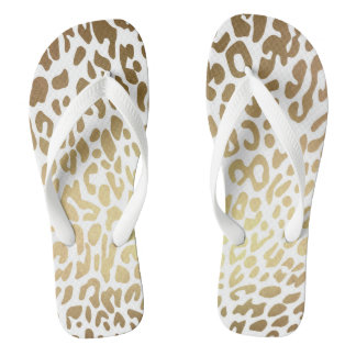 Glam Safari White Gold Jaguar Skin Flip Flops