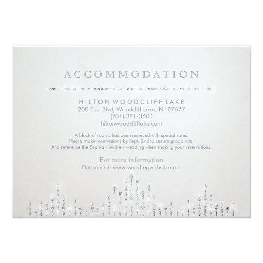 Glam silver art deco vintage wedding accommodation card