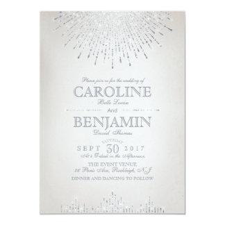 Glam silver glitter art deco vintage wedding 13 cm x 18 cm invitation card