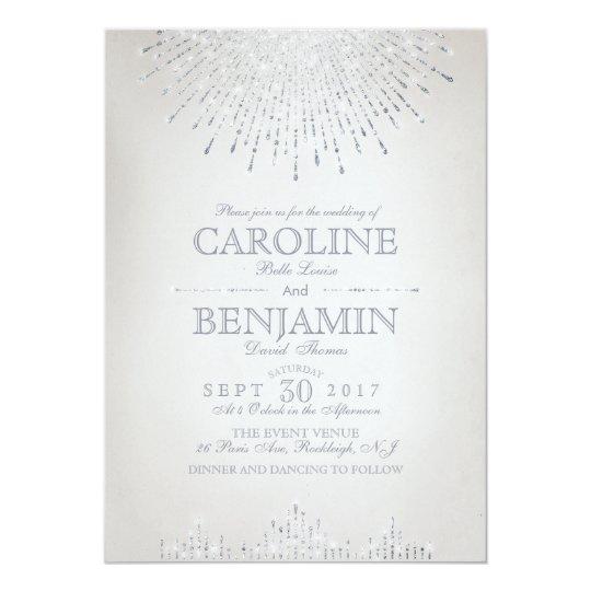 Glam silver glitter art deco vintage wedding card