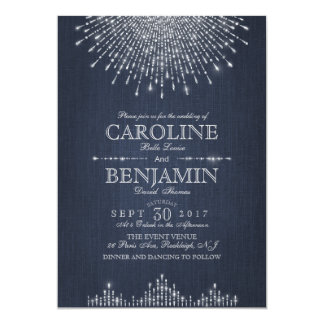 Glam silver glitter art deco vintage wedding card