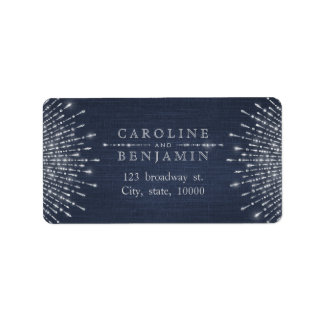 Glam silver glitter deco vintage return address label