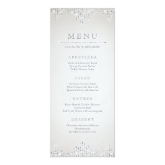 Glam silver glitter deco vintage wedding menu card