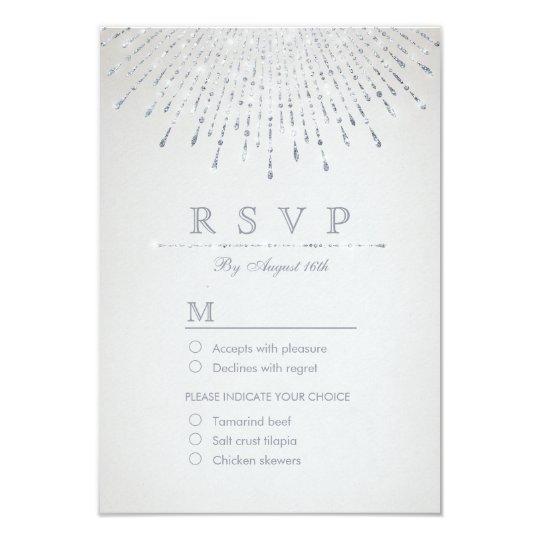Glam silver glitter deco vintage wedding RSVP Card
