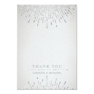 Glam silver glitter deco vintage wedding thank you card