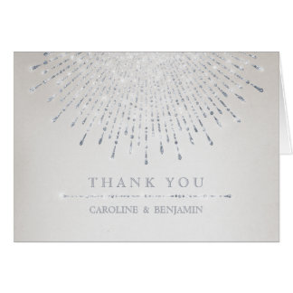 Glam silver glitter deco vintage wedding thank you note card