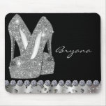 Glam Silver Glitter High Heels Shoes Mouse Pad Mousepads