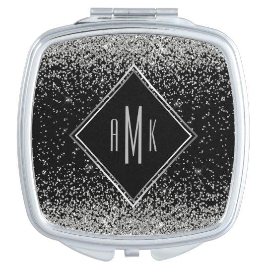 Glam Silver Glitter Monogram on Black Background Travel
