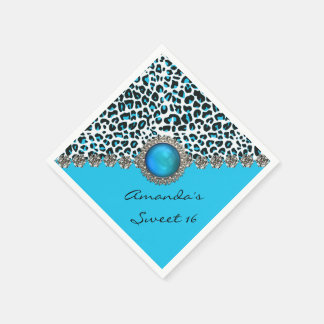 Glam Snow Leopard Sweet 16 Custom Birthday Napkins Disposable Napkins