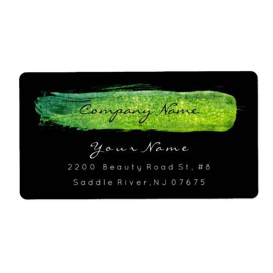 Glam Sparkly Glitter Black Lemon Green Stroke Shipping Label