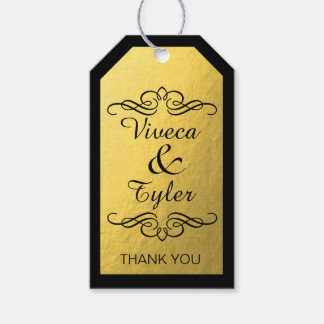 Glam Swirly Flourish Gold Foil Thank You