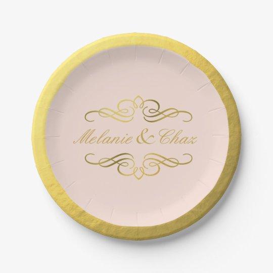 Glam Swirly Flourish Gold Foil Wedding blush pink