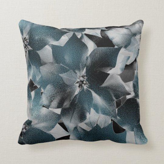 Glam Teal Aquatic Black Floral Gray Metallic Cushion