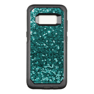 Glam Teal Blue Faux Glitter Purple Print OtterBox Commuter Samsung Galaxy S8 Case