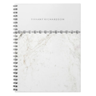 Glam White Marble and Diamond Look Notebook