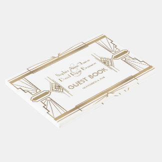 Glam White Roaring 20's Great Gatsby 1920s Wedding Guest Book