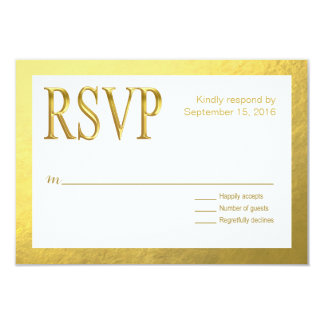 Glam White RSVP with Gold Nugget Faux Foil Outline 3.5x5 Paper Invitation Card
