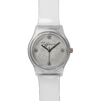 Glam White Sequin and Bling Look Watch