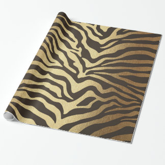 Glam Zebra Skin Golden Shiny Wrapping Paper